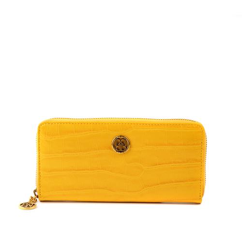 - Fermuarlı Croco Sarı Deri Kadın Cüzdanı