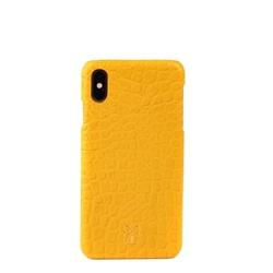 Pirci - iPhone XS Max Bubble Croco Dokulu Deri Kılıf Sarı