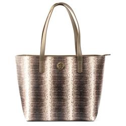 - Python Deri Kadın Alışveriş Çantası Gri