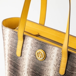 - Python Deri Kadın Alışveriş Çantası Gri / Sarı