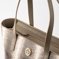 - Python Long Deri Kadın Alışveriş Çantası Gri